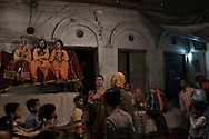 Nakadia, Festival of Happiness and Togetherness, where Hijra's are invited to dance through the streets, till early morning. The three Gods, Rahm, Lachmi and Sita are represented (by children) in this Festival. Varanasi, India.