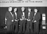Texaco Sportstars Of The Year Awards.1983..14.04.1983..04.14.1983..14th April 1983...Pictured at the awards ceremony were the award winners..For excellence in sport in 1982.(L-R),.Noel Skehan,Hurling. Martin Furlong,Football..Ronnie Delaney,Athletics,Hall of Fame,.Ollie Campbell,Rugby and Barry McGuigan, Boxing..The award ceremony was held in The Burlington Hotel,Dublin.
