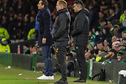 Celtic Manager Neil Lennon, the 4th official Rohit Saggi (Nor) & Rennes Manager Julien Stephan during the Europa League match between Celtic and Rennes at Celtic Park, Glasgow, Scotland on 28 November 2019.