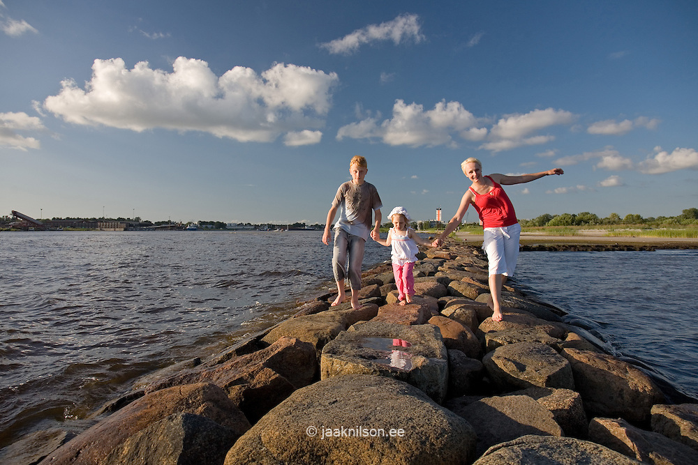 Family Walking on Pärnu Pier, Estonia, Europe