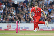Lancashires James Falkner during the Vitality T20 Blast North Group match between Lancashire County Cricket Club and Yorkshire County Cricket Club at the Emirates, Old Trafford, Manchester, United Kingdom on 20 July 2018. Picture by George Franks.