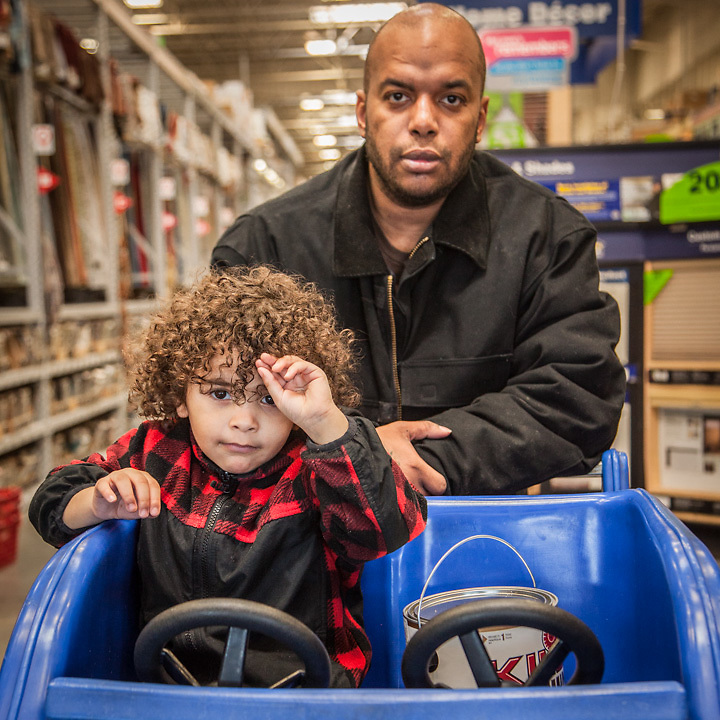 Johnny Degrate and his three year old son Jasantte at Lowes in mid town Anchorage.  degratejohnny02@gmail.com