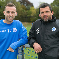 St Johnstone Training....03.10l14<br /> Assistant Manager Callum Davidson pictured with new signing James McFadden at training this morning.<br /> Picture by Graeme Hart.<br /> Copyright Perthshire Picture Agency<br /> Tel: 01738 623350  Mobile: 07990 594431