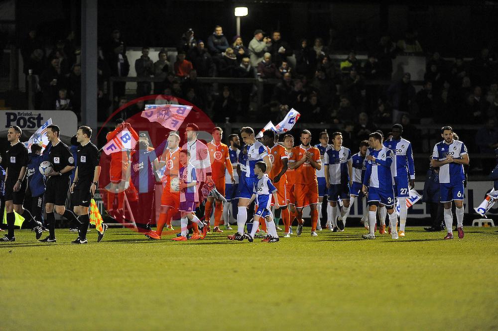 The teams come out  - Photo mandatory by-line: Neil Brookman/JMP - Mobile: 07966 386802 - 24/02/2015 - SPORT - Football - Bristol - Memorial Stadium - Bristol Rovers v Braintree - Vanarama Football Conference