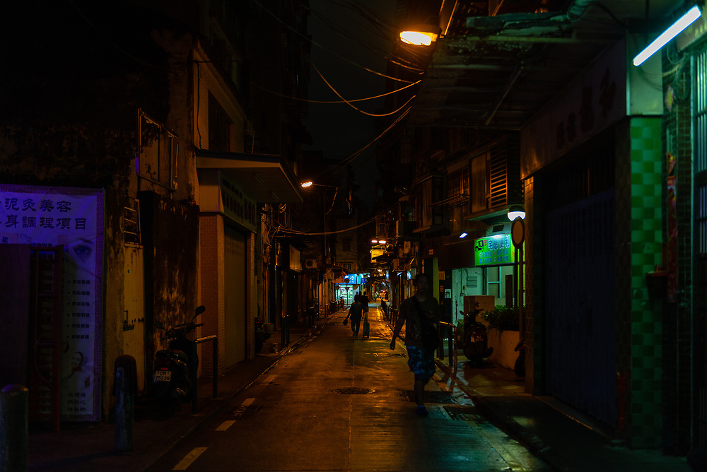 Street scene at night in historical district of Macau