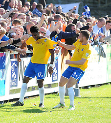 Bristol Rovers' Ellis Harrison is pulled from the crowd by Bristol Rovers' Lee Brown after scoring - Photo mandatory by-line: Neil Brookman/JMP - Mobile: 07966 386802 - 18/04/2015 - SPORT - Football - Dover - Crabble Athletic Ground - Dover Athletic v Bristol Rovers - Vanarama Football Conference
