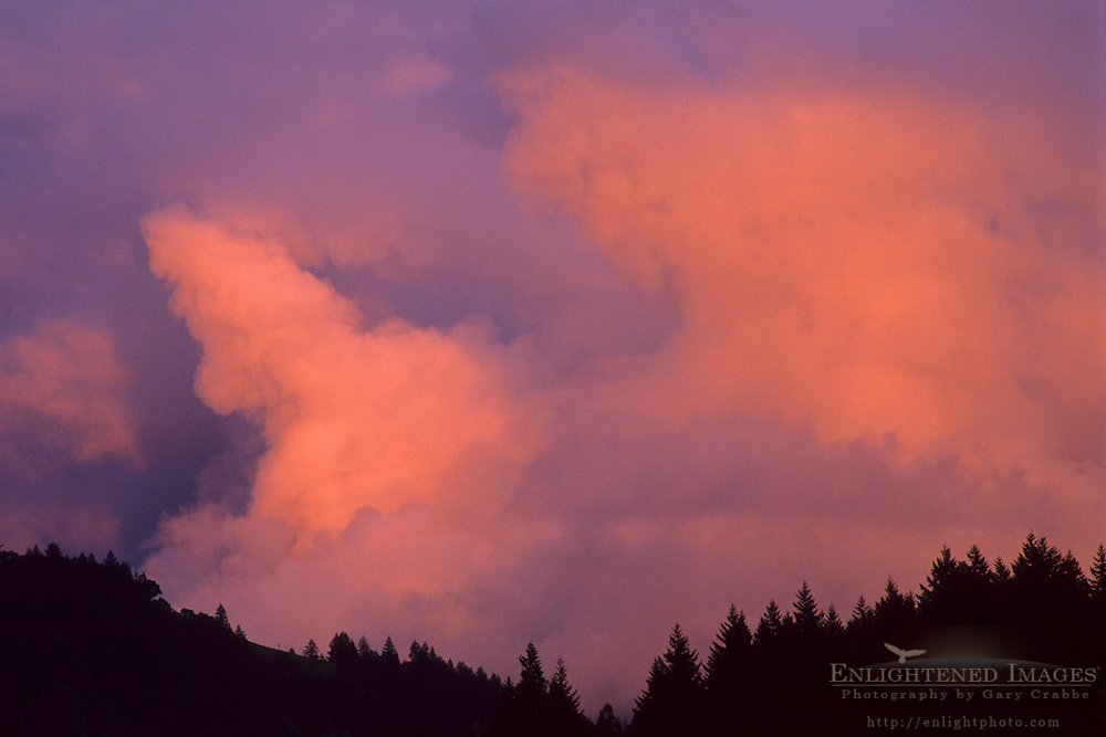 Red storm clouds at sunset over hills above Anderson Valley, Mendocino County, CALIFORNIA