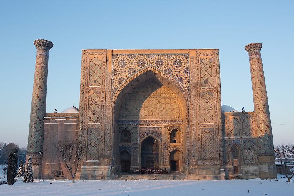 Snow on the Silk Road: vmorning light on Ulugbek Madrasah, Registan, Samarkand. Feb 5-6, 2014 saw a rare sustained snowy period in Samarkand, Uzbekistan, breaking record lows and resulting in school closures and power outages