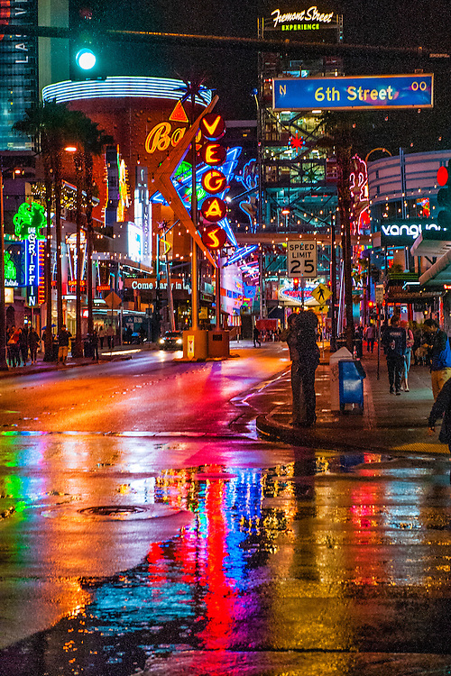 A rainy night in Downtown Las Vegas, Nevada USA.