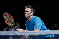 Tennis - 2017 Nitto ATP Finals at The O2 - Day One<br /> <br /> Mens Doubles: Group Eltingh/Haarhus: Henri Kontinen (Finland) & John Peers (Australia) Vs Ryan Harrison (United States) & Michael Venus (Australia)<br /> <br /> John Peers (Australia) guards the net <br /> <br /> COLORSPORT/DANIEL BEARHAM