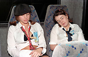 Two clubbers sleeping on a coach, Passion, Emporium, Milton Keynes, UK, 2002