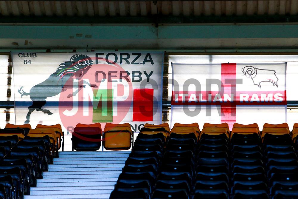 A general view of Pride Park Stadium, home to Derby County - Mandatory by-line: Ryan Crockett/JMP - 11/07/2020 - FOOTBALL - Pride Park Stadium - Derby, England - Derby County v Brentford - Sky Bet Championship