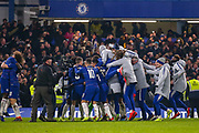 Goal 4-2 Chelsea defender David Luiz (30) scores the winning penalty and celebrates with his team mates at full time during the EFL Cup semi final second leg match between Chelsea and Tottenham Hotspur at Stamford Bridge, London, England on 24 January 2019.