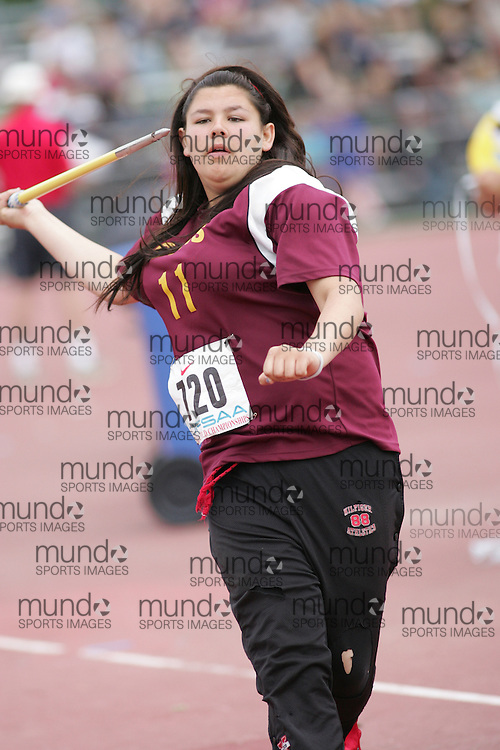 (London, Ontario}---04 June 2010) \\ the junior girls javelin at the 2010 OFSAA Ontario High School Track and Field Championships. Photograph copyright Sean Burges / Mundo Sport Images, 2010.