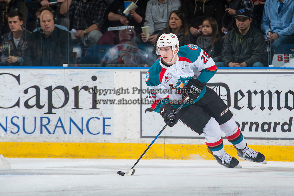 KELOWNA, CANADA - FEBRUARY 10: Cal Foote #25 of the Kelowna Rockets skates with the puck against the Vancouver Giants on February 10, 2017 at Prospera Place in Kelowna, British Columbia, Canada.  (Photo by Marissa Baecker/Shoot the Breeze)  *** Local Caption ***