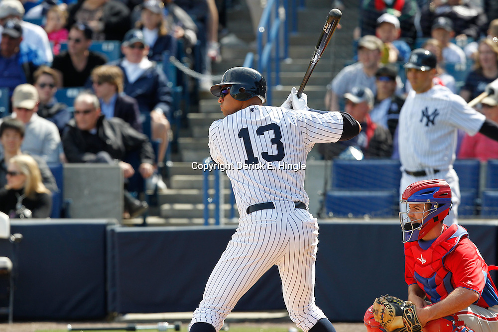 March 4, 2012; Tampa Bay, FL, USA; New York Yankees third baseman Alex Rodriguez (13) against the Philadelphia Phillies during spring training game at George M. Steinbrenner Field. Mandatory Credit: Derick E. Hingle-US PRESSWIRE