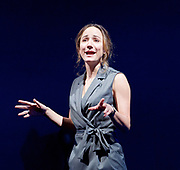Oslo <br /> by J. T. Rogers <br /> at The Lyttelton Theatre, National Theatre, Southbank, London, Great Britain <br /> press photocall <br /> 8th September 2017 <br /> a Lincoln Centre Theatre Production<br /> <br /> <br /> <br /> Lydia Leonard as Mona Juul <br /> <br /> directed by Bartlett Sher<br /> Michael Yeargan - set design <br /> Catherine Zuber - Costume design <br /> Donald Holder - Lighting design <br /> Photograph by Elliott Franks <br /> Image licensed to Elliott Franks Photography Services
