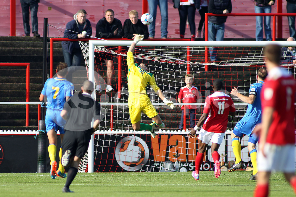 Basingstoke's keeper Brandon Hall in action during the FA Cup 3Q match between Ebbsfleet United v Basingstoke Town, Stonebridge Road, Northfleet, Kent DA11 9GN on 11 October 2014. Photo by Ken Sparks.