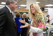 Paul Scripps, trustee of the Scripps Howard Foundation, and Melanie Sabelhaus, (BSJ '70)chair of the Women's Majority Network Steering Committee, talk during the Women in Philanthropy Celebration and Conversation luncheon at the Scripps College Celebration.