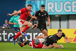 "November 1, 2019, TóQuio, Japão: TÃ""QUIO, TO - 01.11.2019: RUGBY WORLD CUP 2019 ALL BLACKS X WALES - Ben Smith scoring his try on his farewell to the All Blacks. Match valid for the Rugby World Cup 2019 bronze medal match between All Blacks (New Zealand) and Wales (Wales) held at TOKYO STADIUM in Tokyo, JPN  (Credit Image: © Bruno Ruas/Fotoarena via ZUMA Press)"