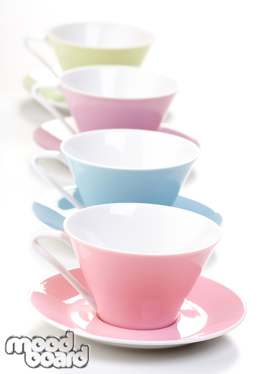 Close up of empty cups i row