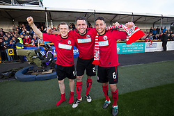 Brechin scorers Brechin City's Liam Watt, Brechin City's Paul McLean and Brechin City's James Dale, at the end. Alloa Athletic 4 v 3 Brechin City (Brechin won 5-4 on penalties), Ladbrokes Championship Play-Off 2nd Leg at Alloa Athletic's home ground, Recreation Park, Alloa.