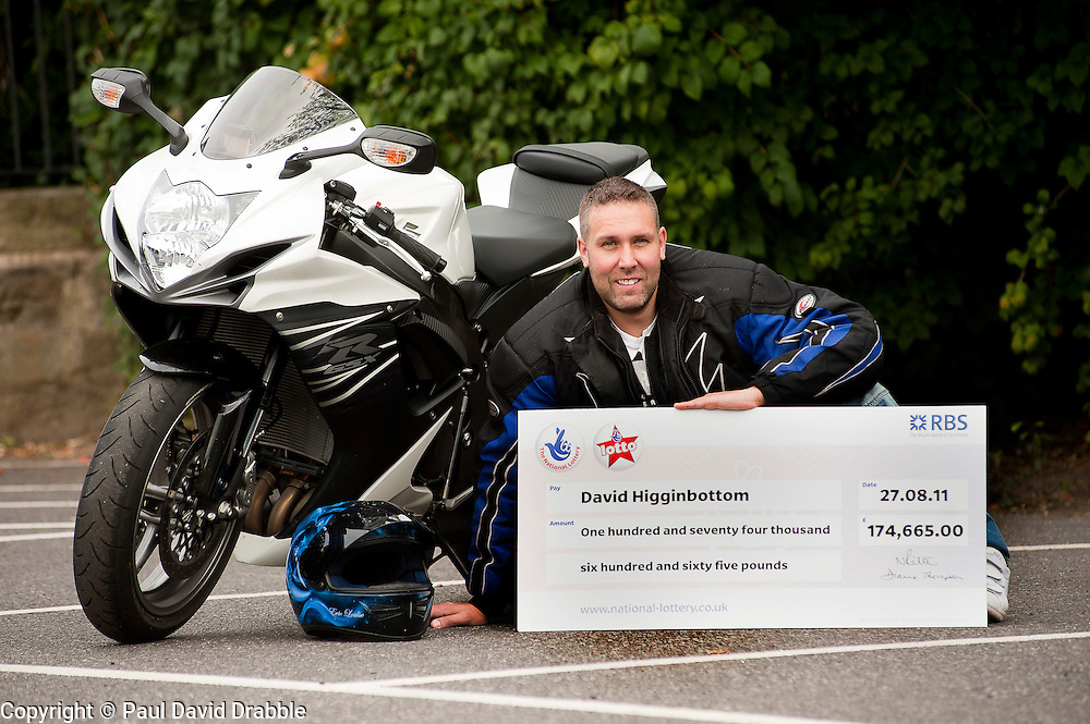 Lottery Winner David Higginbottom who won £174,665 with his new motorcycle.9th September2011 Image © Paul David Drabble