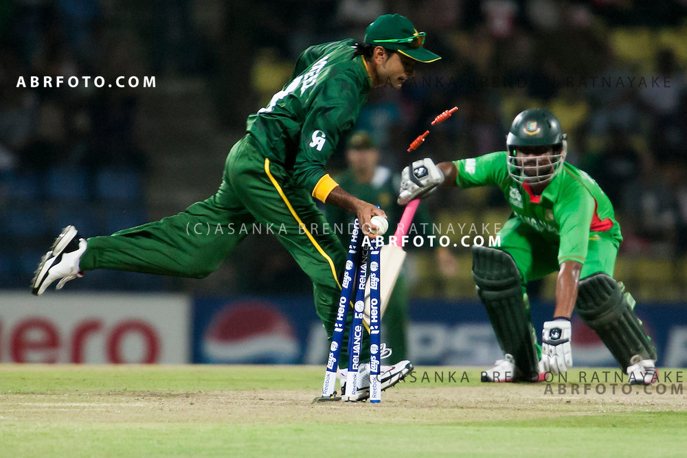 Bangladeshi batsmen gets run out during the ICC world Twenty20 Cricket held in Sri Lanka.