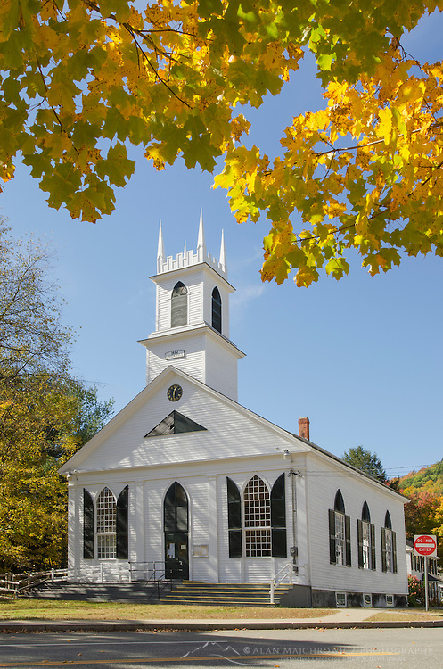 White church framed in golden fall foliage, Newfane, Vermont