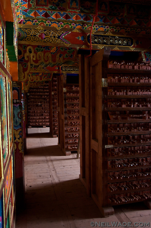 The interior of the Barkhang (Parkhang) Printing Press in Dege, Tibet.