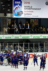 Slovenian players after the match at IIHF Ice-hockey World Championships Division I Group B match between National teams of Slovenia and Korea, on April 21, 2010, in Tivoli hall, Ljubljana, Slovenia. (Photo by Matic Klansek Velej / Sportida)