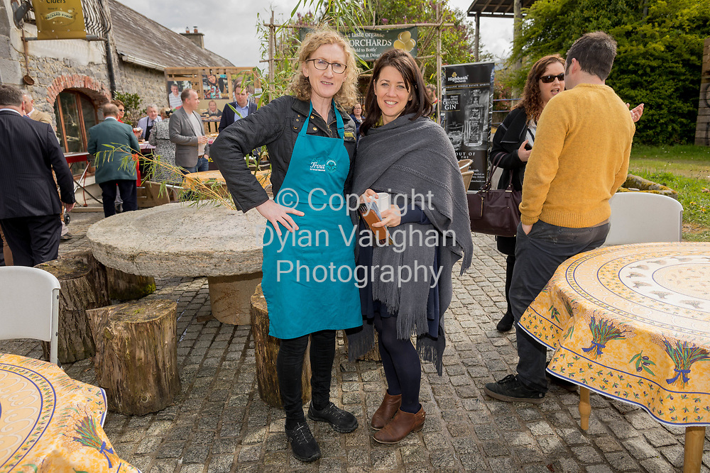 Repro Free No charge for Repro<br /> <br /> 24-4-17<br /> <br /> Helen Carroll of RTE&rsquo;s Ear to the Ground launched the next phase of #TasteKilkenny on Monday, 24th April at a lunch event at Highbank Orchards &amp; Distillery, Cuffesgrange, Co Kilkenny.<br /> <br /> Pictured at the launch were Mags Kirwan, Goatsbridge Trout Farm and Gabrielle Carroll, Kilkenny Leader Partnership.<br />  <br /> An afternoon of tasting and presentations took place, including a welcome address by Cllr Matt Doran, Cathaoirleach and an update on the #TasteKilkenny initiative by Fiona Deegan. Followed by the official launch of the #TasteKilkenny website and videos.<br />  <br /> #TasteKilkenny was established as a collective of Kilkenny based producers and outlets to promote the vibrant food scene in Kilkenny and create a platform to showcase the very best of local food production. For more information see: www.TasteKilkenny.ie.<br /> <br /> Picture Dylan Vaughan.