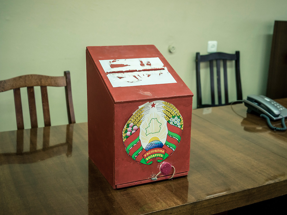 A ballot box at a polling statino for early voting on Wednesday, October 7, 2015 in Minsk, Belarus. A presidential election is planned for Sunday with current president Alexander Lukashenko expected to secure a fifth term, though as in the past, the election is not expected to be declared free by monitors or the opposition.