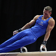 Steven Legendre, Norman, Oklahoma, in action on the Pommel horse during the Senior Men Competition at The 2013 P&G Gymnastics Championships, USA Gymnastics' National Championships at the XL, Centre, Hartford, Connecticut, USA. 16th August 2013. Photo Tim Clayton