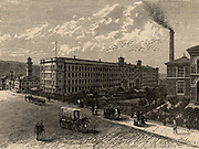 Saltaire, the model textile factory and town near Bradford, Yorkshire, England, founded in 1851 by the industrialist Titus Salt (1803-1876). Salt had government contracts to produce cloth for military uniforms.  From 'Great Industries of Great Britain' (London, c1809).