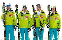 Men Slalom team: Matic Skube, Janez Jazbec, Miha Kuerner, Mitja Valencic during media day of Slovenian Alpine Ski team on October 17, 2011, in Rudno polje, Pokljuka, Slovenia. (Photo by Vid Ponikvar / Sportida)