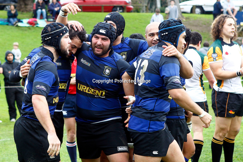 Ponsonby celebrate Chay Raui's try. Auckland Club Rugby Grand Final - Ponsonby v Grammar Carlton, Auckland Grammar, Auckland, New Zealand. Saturday 13 August 2011. Photo: Ella Brockelsby / photosport.co.nz