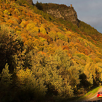 Autumn Perthshire....24.10.13  Motorist's on the A90 Perth to Dundee road get an incredible view of Kinnoull Hill in Perth as they drive past.<br /> Picture by Graeme Hart.<br /> Copyright Perthshire Picture Agency<br /> Tel: 01738 623350  Mobile: 07990 594431
