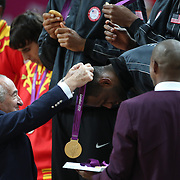 Lebron James, USA, receives his Gold Medal during the Men's Basketball Final between USA and Spain at the North Greenwich Arena during the London 2012 Olympic games. London, UK. 12th August 2012. Photo Tim Clayton