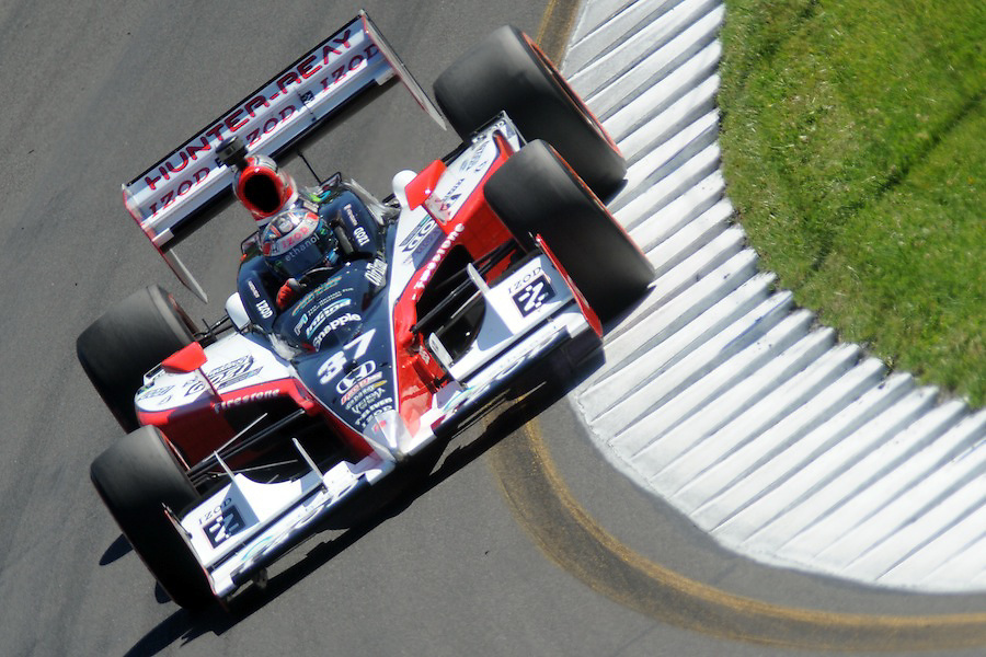 4 July 2010: Andretti Autosport driver Ryan Hunter-Reay hits the turn nine rumble strips in the IZOD Honda during the final practice for the Camping World Grand Prix at the Glen in Watkins Glen, New York..Mandatory Credit: Michael Johnson / Southcreek Global