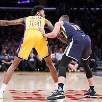 05 December 2016: Utah Jazz guard Dante Exum (11) defends on Los Angeles Lakers forward Brandon Ingram (14) during the Utah Jazz 107-101 victory over the Los Angeles Lakers, at the Staples Center, Los Angeles, California, USA.