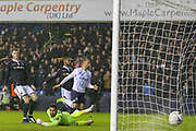 GOAL - Everton striker Cenk Tosun (14) shoots past Millwall goalkeeper Jordan Archer (1) and scores during the The FA Cup fourth round match between Millwall and Everton at The Den, London, England on 26 January 2019.