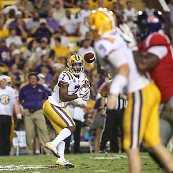 Sep 29, 2018; Baton Rouge, LA, USA; LSU Tigers wide receiver Jonathan Giles (7) catches a pass against the Mississippi Rebels during the second quarter of a game at Tiger Stadium. Mandatory Credit: Derick E. Hingle-USA TODAY Sports