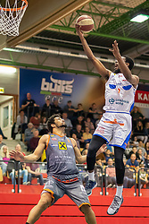 13.04.2019, SPH Walfersam, Kapfenberg, AUT, Admiral BBL, Kapfenberg Bulls vs Raiffeisen Fürstenfeld Panthers, 33. Runde, im Bild v.l.: Joshua Davis (Raiffeisen Fuerstenfeld Panthers), Xavie Ford (Kapfenberg Bulls) // during the Admiral Basketball league, 33th round match between Kapfenberg Bulls and Raiffeisen Fürstenfeld Panthers at the SPH Walfersam in Kapfenberg, Austria on 2019/04/13. EXPA Pictures © 2019, PhotoCredit: EXPA/ Dominik Angerer