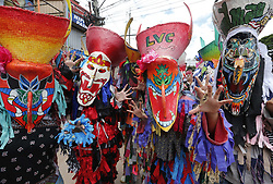 June 16, 2018 - Dan Sai, Loei province, Thailand - Thais wear masks representing the spirits of the dead springing back to life during the annual Phi Ta Khon, or Ghost festival in Dan Sai, Loei province, northeast of Bangkok. The event was held to promote tourism in Thailand. (Credit Image: © Chaiwat Subprasom/NurPhoto via ZUMA Press)