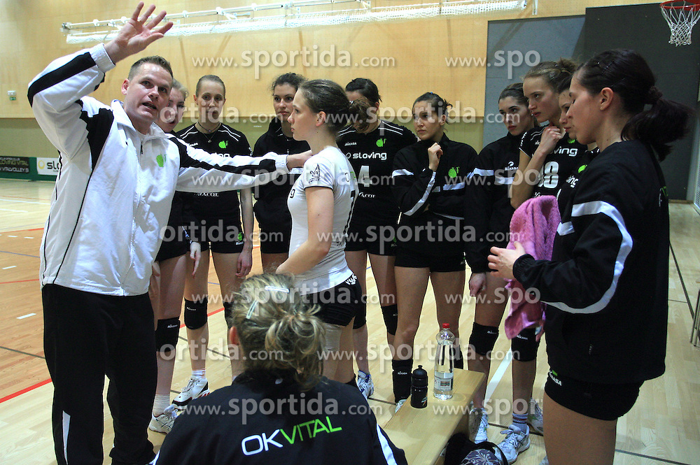 Coach of OK Vital Joze Casar and Marusa Pungartnik at semifinal of 1st DOL volleyball match between OK Sloving Vital, Ljubljana and OK Nova KBM Branik, Maribor played in BIC center, on April 1, 2009, in Ljubljana, Slovenia. Nova KBM Branik won 3:1. (Photo by Vid Ponikvar / Sportida)