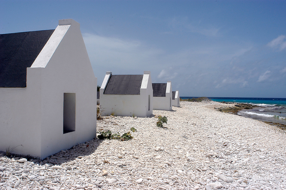 Tiny huts were used to house slaves that worked in the salt mines on the island of Bonaire in the Caribbean.