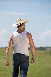 hot cowboy walking off towards the horizon