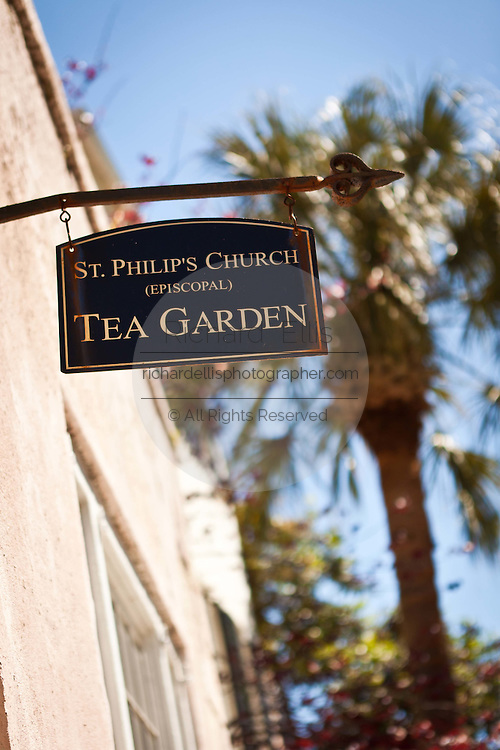 Historic St. Phillip's Church tea garden sign in Charleston, SC.