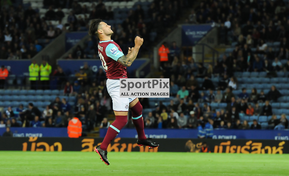 Mauro Zarate leaps for joy after scoring the equaliser for West Ham to make the score 1-1 (c) Simon Kimber | SportPix.org.uk
